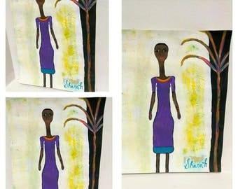 black african woman art ,black woman painting, black woman art, african american purple dress,