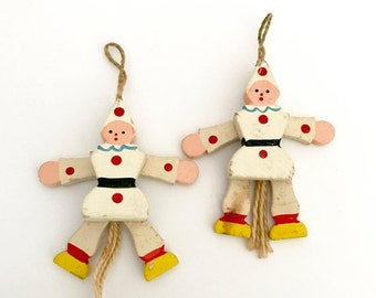 SALE 30% OFF CHRISTMAS Miniature Pull Toy Wooden Clowns Puppets Jumping Jacks Made in Italy