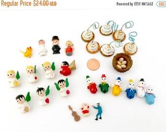 HOLIDAY CLOSEOUT 50% OFF Miniature Vintage Craft Supplies, Wooden Angels, Clowns, Snowman, Dollhouse Cakes, Bride Groom, Yellow Bird, Bird's