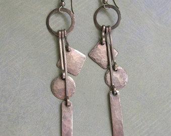Vintage Sterling Hammered Dangle Earrings, Sterling Mid-Century Modern Earrings, Vintage Sterling Earrings (#3130)