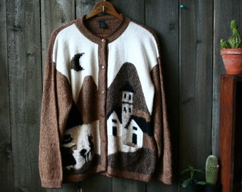 Alpaca Cardigan Sweater Bohemian Fashion Village Landscape Brown Black White Buildings and Figures Vintage From Nowvintage on Etsy