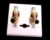 Vintage Coro Snake Head Earrings fiery red navette eyes Stunning!