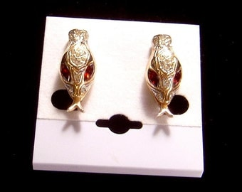 Vintage Coro Snake Head Earrings fiery red navette eyes Stunning!