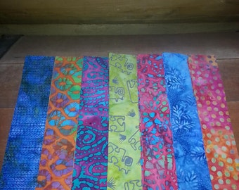 "Collection of 28 Batik  Jewel Tone Fabric Strips   2"" x 10"""