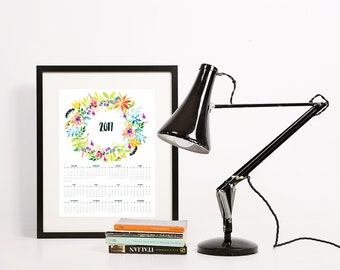 2017 Calendar • DIY Printable Poster • Simple Colorful Watercolor Flower Wreath • 3 sizes • 18x24, A3(11x17), A4 (8.5x11) • English