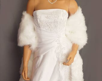 Faux fur wrap shawl shrug stole in Angora long wedding bridal cover up evening cover up winter wrap FW202 AVL in white and 3 other colors