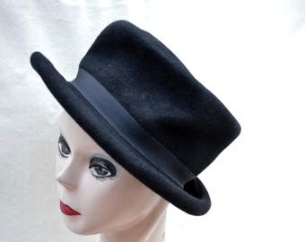 Vintage Black Wool Felt Top Hat / Vintage Top Hat / Mad Hatter Top Hat / Steam Punk Top Hat / Vintage Felt Top Hat / Costume Top Hat