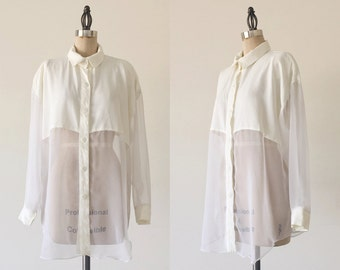 Vintage 1990s White Sheer Long Sleeve Minimalist Blouse - L