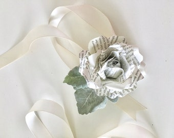 A Simple Book Page Rose Wrist Corsage