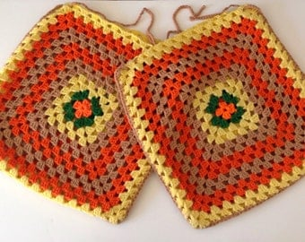 Vintage Hand Crochet Granny Square Throw Pillow Covers Yellow Orange Brown