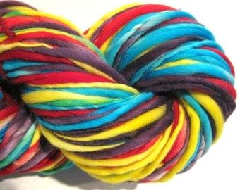 Bulky Handspun Yarn, Harlequin, 140 yards, hand dyed merino wool, blue yellow purple red yarn  waldorf doll hair, knitting supplies,crochet
