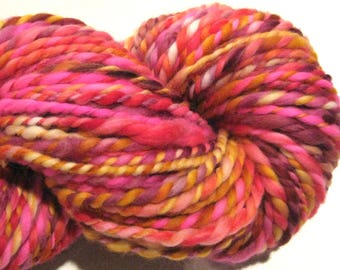 Handspun yarn, Guava Passion, bulky weight, 2 ply, 110 yards, pink gold yarn, hand dyed merino wool, knitting supplies, crochet supplies