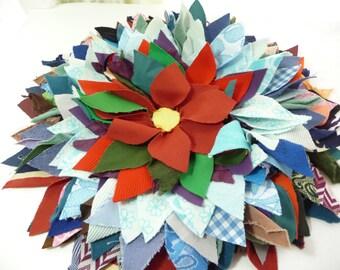 Vintage Scrap Art, Fabric Scrap Flower, Decorative, Home Decor, Pillow Topper, Craft Supplies, MOM, Pretty, Unique, Retro,Knit Fabric Pieces