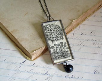 Sepia Flower Illustration Pendant Long Necklace Original Jewelry