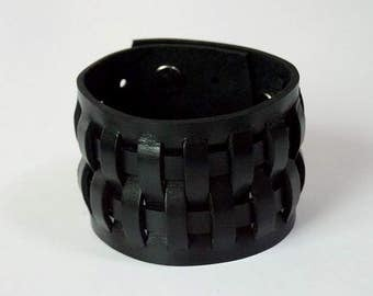 Weave Black Leather Bracelet Leather Cuff Leather wristband