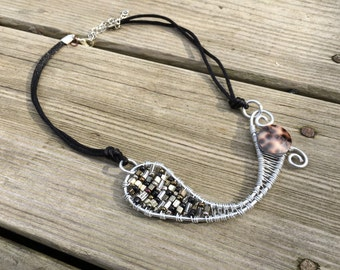 Aluminum, Wire Wrapped, Silver, Brown, Black, Glass Seed Beads, Allergy Free, Nickel Free, Tortoise Shell, Pendant Necklace, Adjustable Cord