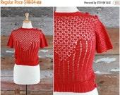 SALE reserved for Krystle...... 1930s crochet blouse | 1930s knitwear | 30s red crochet top jumper | xs - s