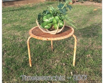 Table - Rustic Table - Farmhouse Table - Foot Stool  - Side Table - End Table - Plant Stand - Vintage Table - Rusty Metal Table - Old Table