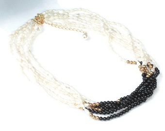 Freshwater Rice Pearl Black Bead Necklace Multi Strand Vintage