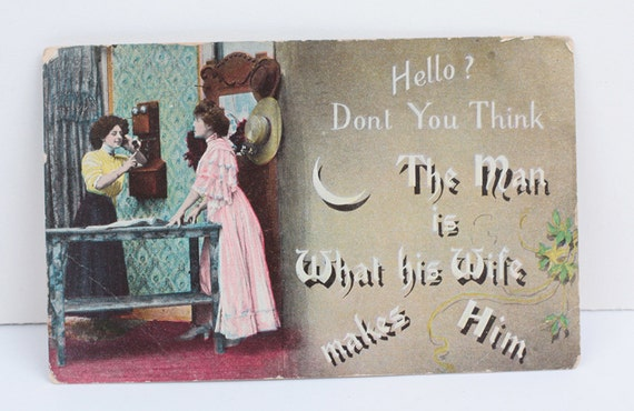 Humorous RPP Postcard The Man is What His Wife Makes Him 1906