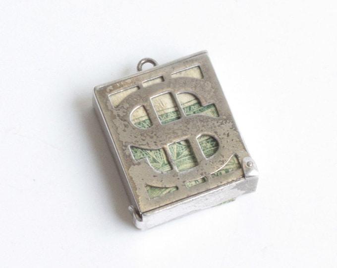 Dollar Bill Holder Charm Sterling Silver Mechanical Mad Money Vintage