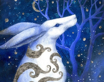 SALE!!  Limited edition giclee art print by Amanda Clark. Hare paintings, miniature painting