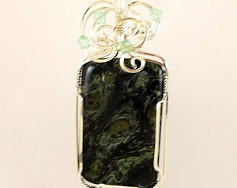 Pendant Necklace Dark-Green Moss Agate Rectangular Sterling Silver Crystals Wire Wrap highly polished shiny smooth