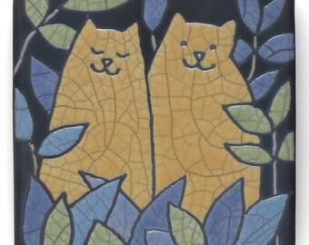 Cats, Yellow Cats,ceramic tile,wall art,handmade, a raku fired art tile 4x4 inch