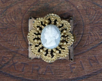 Antique French Mid-19th Century Four Strand Cameo Ormolu Bracelet Clasp