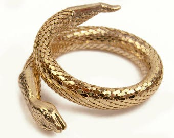 1950s 1960s Whiting and Davis Double Coil Gold Tone Mesh Egyptian Style Serpent Snake Bracelet