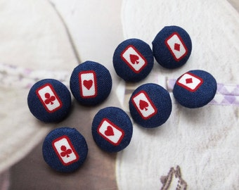 Punk Style, Retro Dark Blue Red Poker Playing Card Red Heart Club Diamond Spades-Handmade Fabric Covered Buttons(0.55 Inches, 8PCS)