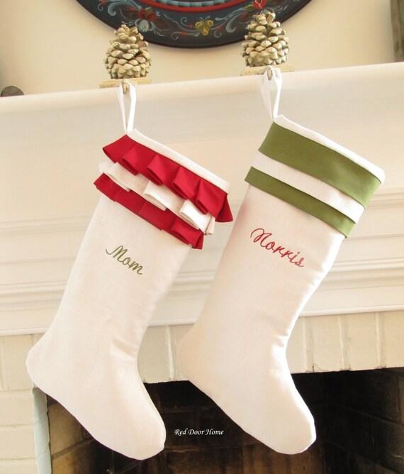 Personalized Christmas Stockings Linen Pair White Green Red Monogram Wedding Gift