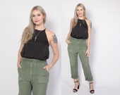 Vintage 70s ARMY PANTS / 1970s Army Green Cotton Military Issue Boyfriend Fit Pants S