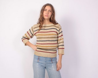 Vintage 70s Metallic SWEATER / 1970s Earth Tone Slouchy Striped Metallic Gold Pullover Knit Top