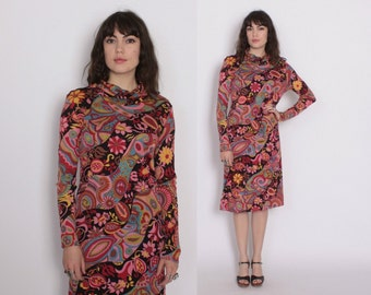 Vintage 70s LEONARD DRESS / 1970s Bright Psychedelic Print Designer Turtleneck Midi Dress S