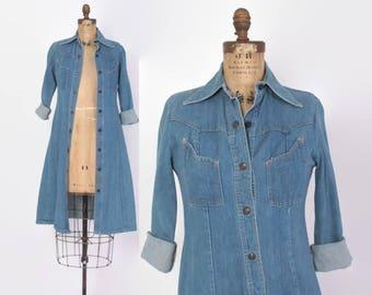 Vintage 70s Denim DRESS / 1970s Snap Front Blue Jean Midi Duster Jacket