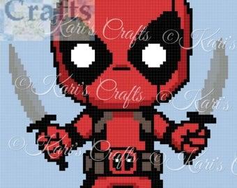 Mini Deadpool Afghan Blanket or Pillow C2C Corner to Corner or Single Crochet PDF Pattern Graph + Written Instructions-Instant Download