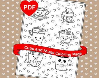 Cups Mugs Coloring Page Cute Kawaii PDF Printable
