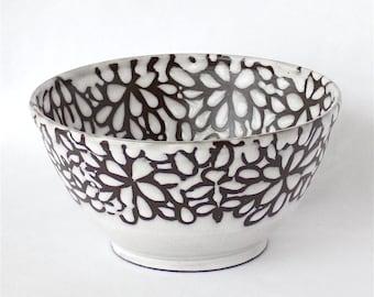 Bowl , Decorative Bowl , Accent Bowl , White Modern Floral