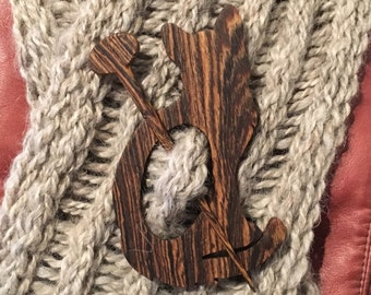 Wooden Cat Shawl Pin, Bolivian Redwood, Scarf Pin