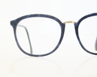Vintage L'Amy Round Sapphire Blue Glasses Womens P3 Eyeglasses Metallic Gold Shiny Navy Marbled France French 1980s 80s Eighties Hipster
