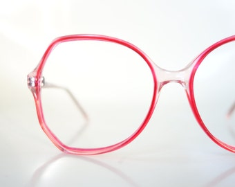 1970s Red Butterfly Glasses Womens Eyeglasses Oversized Huge Red Cranberry Pink Translucent Clear 70s Seventies Retro Deadstock Brand New