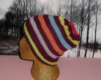 50% OFF SALE madmonkeyknits  Silk Stripe Slouch hat knitting pattern pdf download - Instant Digital File pdf download knitting pattern