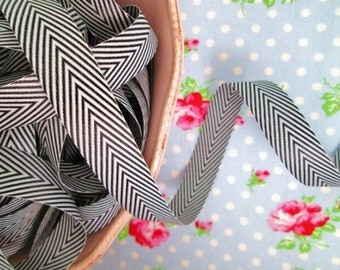 Chevron Striped Twill - Black and White - Ribbon - 3/4 inch - 2 Yards