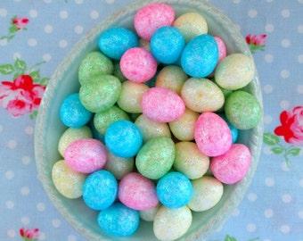 Glittered Mini Pastel Easter Eggs - 3/4 inch - Set of 20