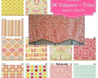 Shaped M Custom Trimmed Valance - Kumari Garden / Modern Floral Valance, Boho Retro Valance, Colorful Tropical Valance,  Kids Room, Nursery