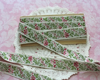 Embroidered Rose Ribbon Trim