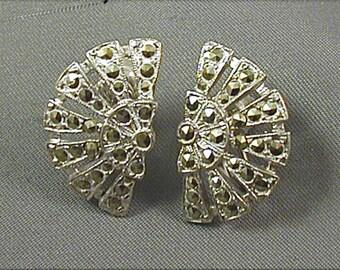 Sterling Art Deco Marcasite Earrings
