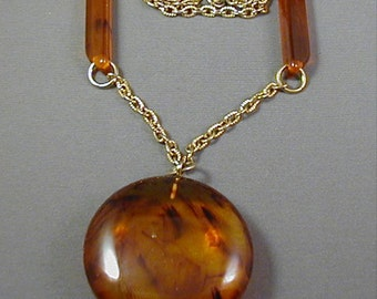 Lucite Pendant Necklace Faux Tortoise