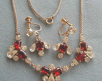 Red and Crystal Rhinestone Necklace and Earrings Set